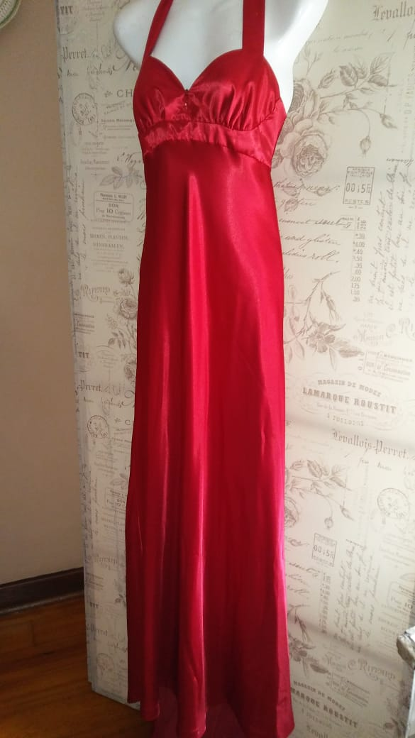 Red Silk Evening Dress