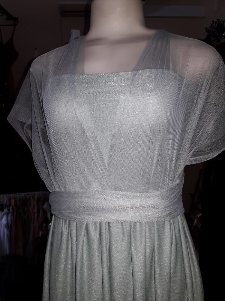 Evening Dress Flowing in Soft green and pink
